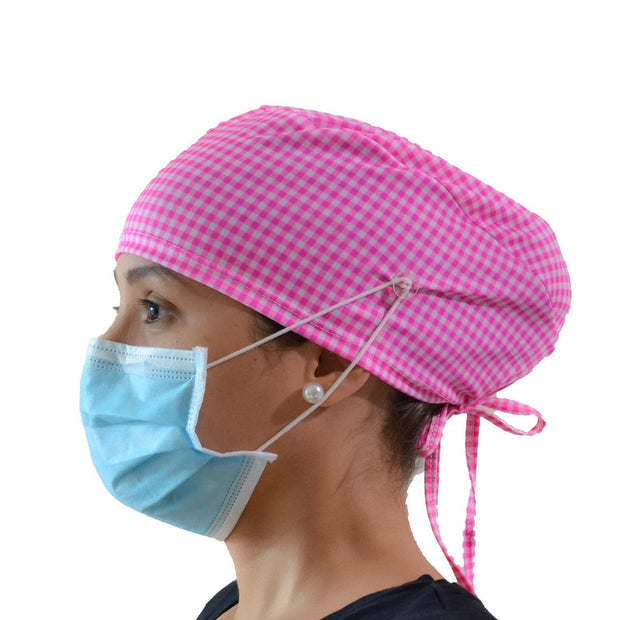 Pink and White Scrub Cap with Buttons - scrubcapsusa