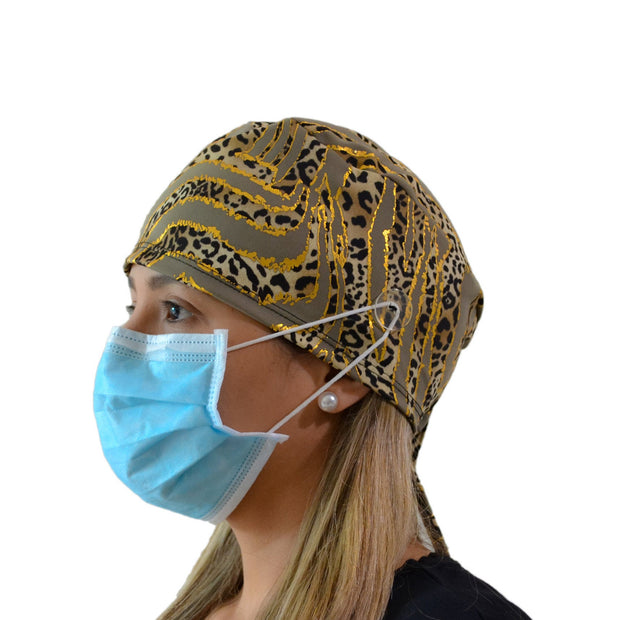 Gold Scrub Cap with Buttons - scrubcapsusa