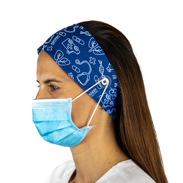 Healthcare Heroes Headband with buttons - scrubcapsusa