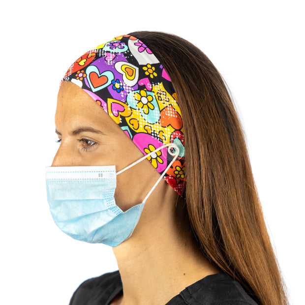 Hearts Nurse Headband with buttons - scrubcapsusa