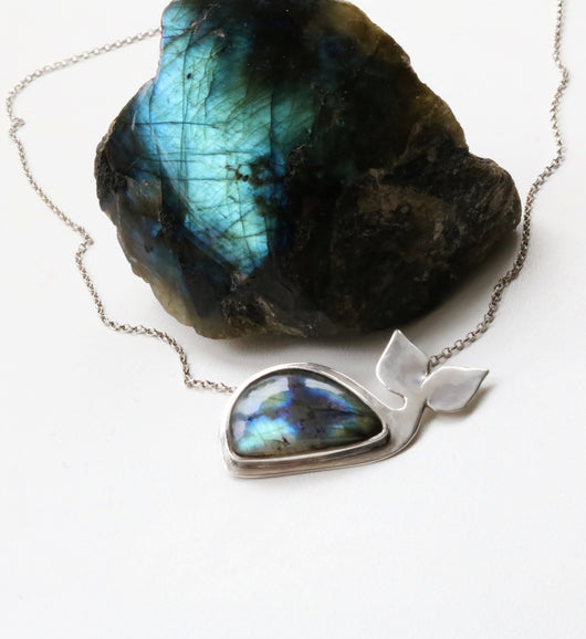 One of a kind blue whale Labradorite necklace