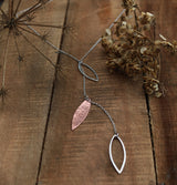 Copper and sterling silver oval drop necklace