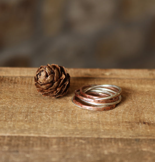 sterling silver & copper interlocking ring