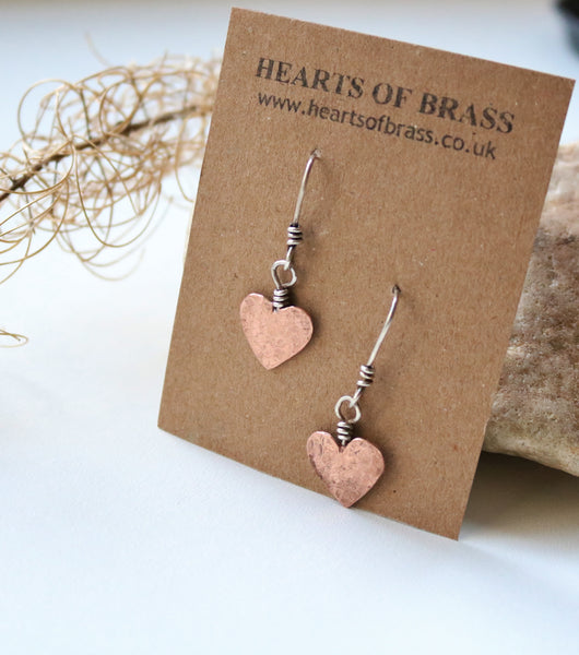 Copper heart drop earrings
