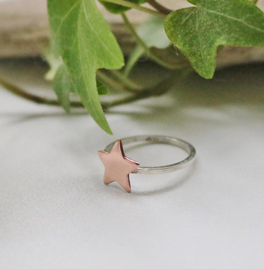 Skinny sterling and copper star ring