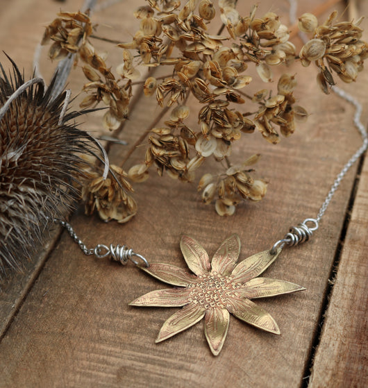 Brass sunflower pendant necklace