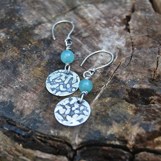 Sterling silver and Amazonite earrings