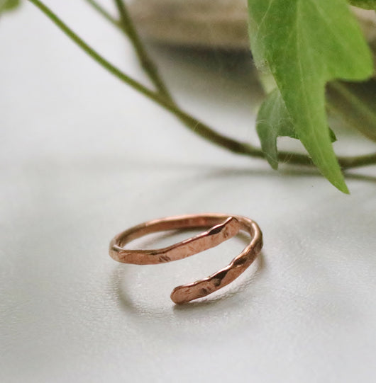Hammered open copper or brass rings