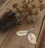 Sterling and brass leaf necklace