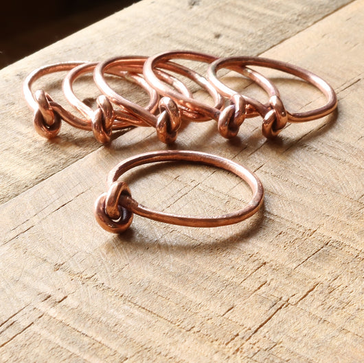 Copper or brass knot brass rings
