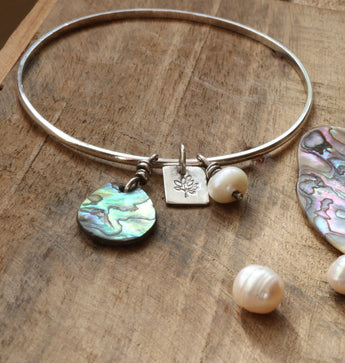 Abalone and pearl bangle