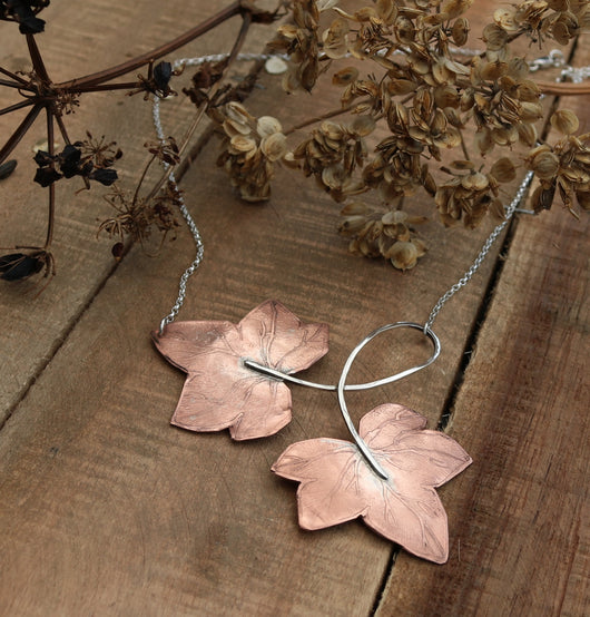 Copper and sterling silver ivy leaf necklace