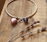 Pink and purple pendant bangle