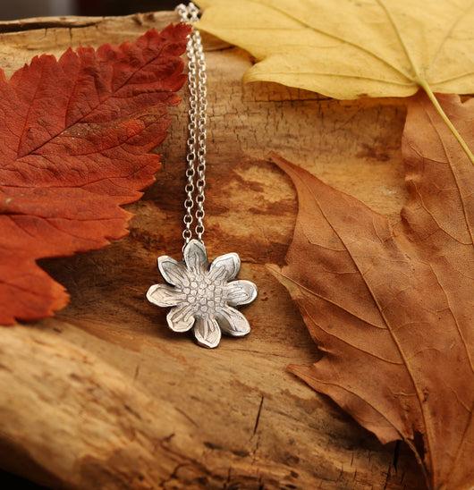 Sterling silver sunflower pendant necklace