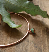 Polished copper and turquoise bangle