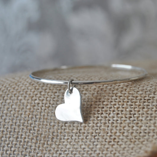 Sterling silver, polished heart bangle