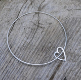 Sterling silver heart link bangle