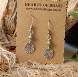 Stamped sterling earrings with coloured bead. ( choice of colours)