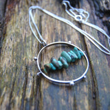 Handmade Turquoise hoop necklace