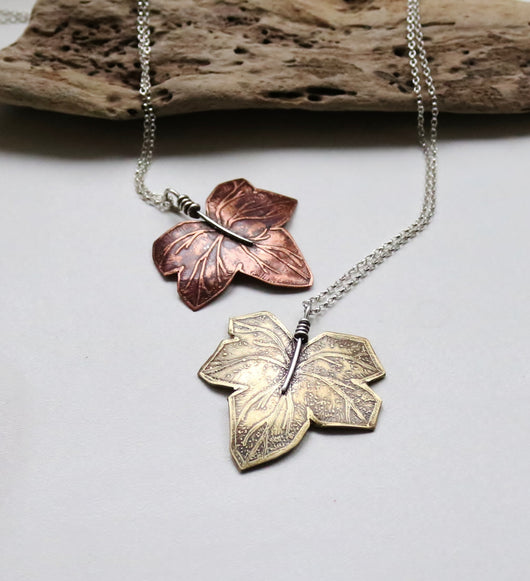 Single ivy leaf pendant.  Copper or brass