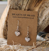 Small hammered heart earrings
