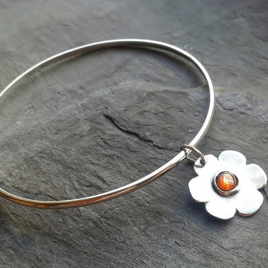 Sterling silver and sunstone flower bangle