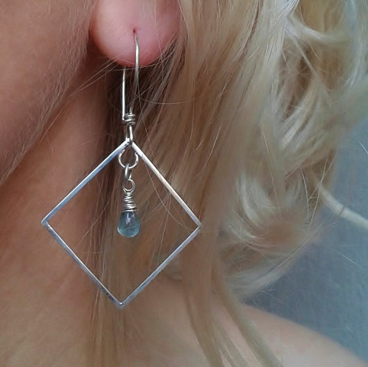 Sterling silver and blue apatite earrings.