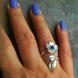Handmade sterling silver twisted flower ring