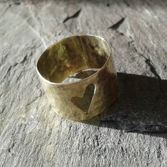 Beaten brass thumb ring