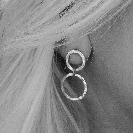 Handmade sterling silver double loop earrings.