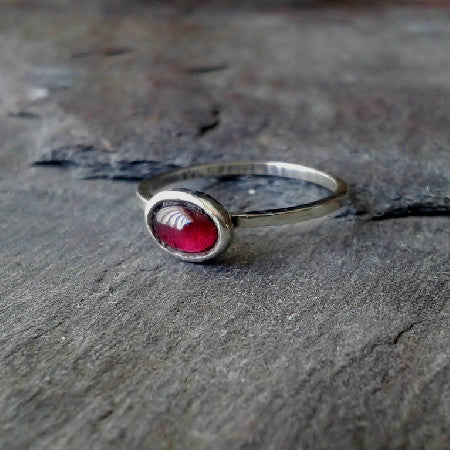 Sterling silver and garnet skinny ring