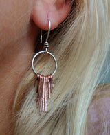 Sterling silver and copper droplet earrings