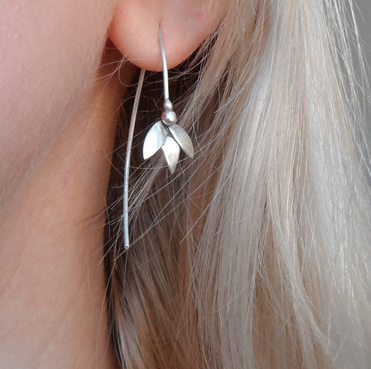 Sterling silver snow drop earrings