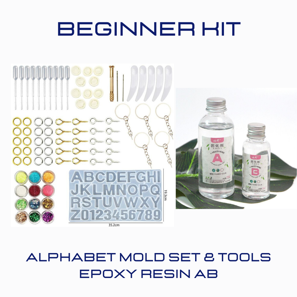 Alphabet Mould & Tools Set + Epoxy Resin AB