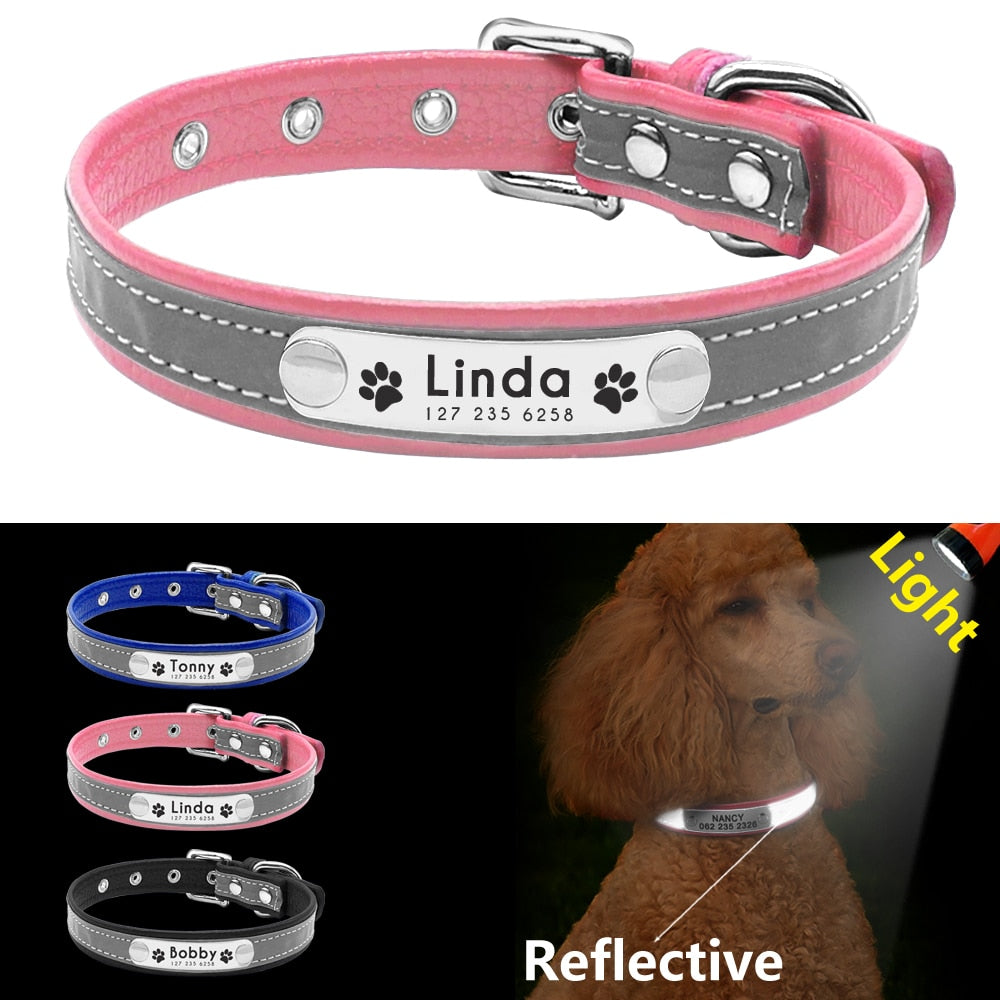 Leather Padded Reflective Dogs Collar