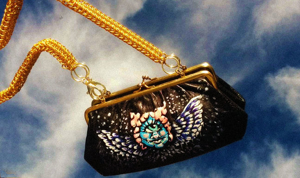 *UPCYCLED* CHERUB CLAMSHELL PURSE