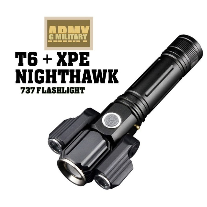 NightHawk 737 Flashlight, Black, Led torchlight 3 function, Rechargeable.