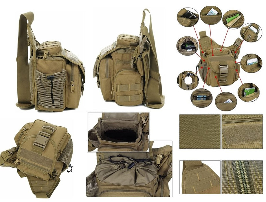 Multi-Functional Military Tactical Messenger Bag EDC Molle Shoulder Pack, Army Green