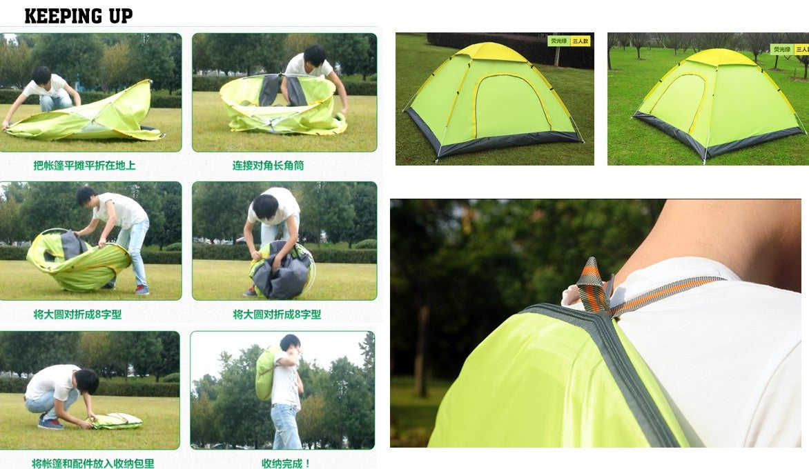 AUTO POP UP TENT, 3-4 men tent, Apple Green