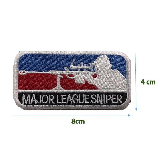 Major League Sniper Patch, Morale Patch, with Velcro – Khaki / white