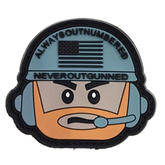 Never out Gunned Rubber Patch, Morale Patch, with Velcro - Grey / Grey
