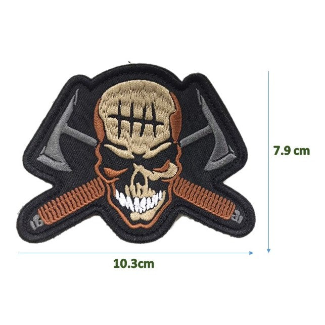 Skull Axe Crosser Patch, Morale Embroidery Patch, with Velcro