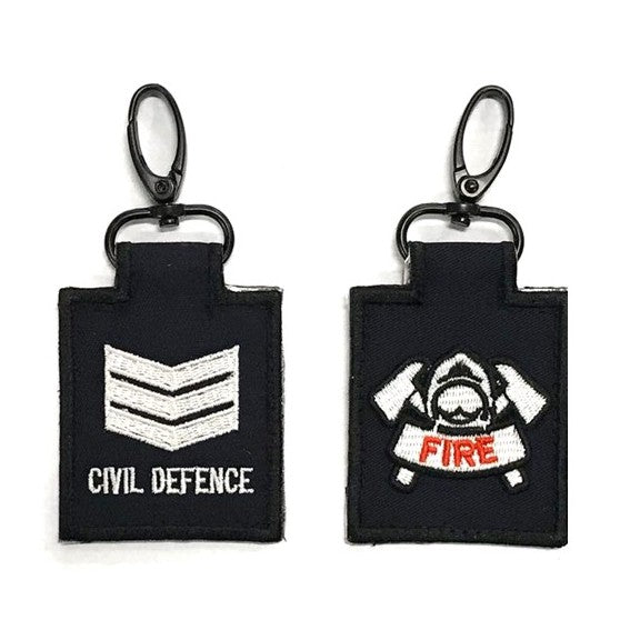 SCDF SGT with Fire Badge Mini Rank Keychain