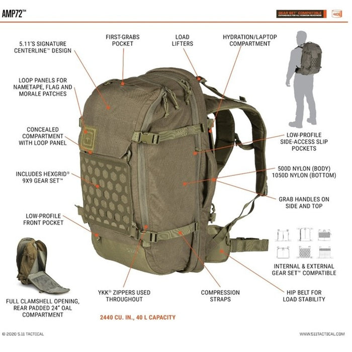 AMP72™ BACKPACK 40L , Ranger Green