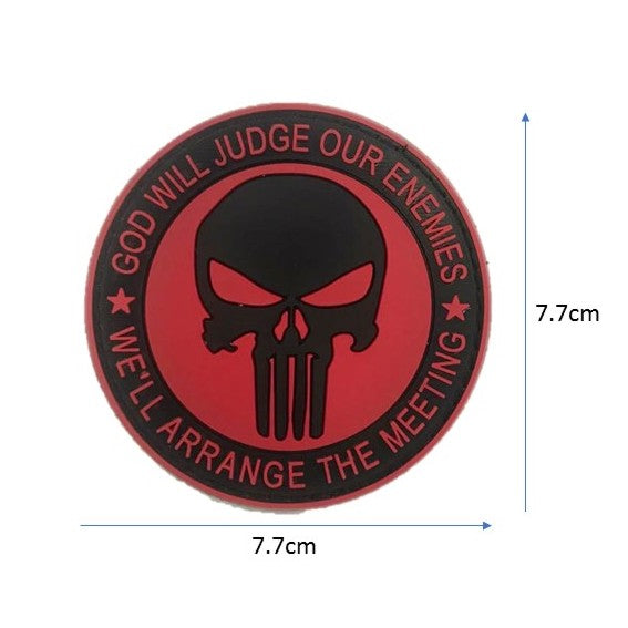 God will Judge, Punisher Rubber badge , Red