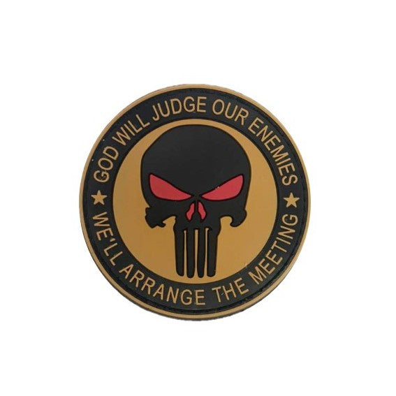 God will Judge, Punisher Rubber badge , Brown