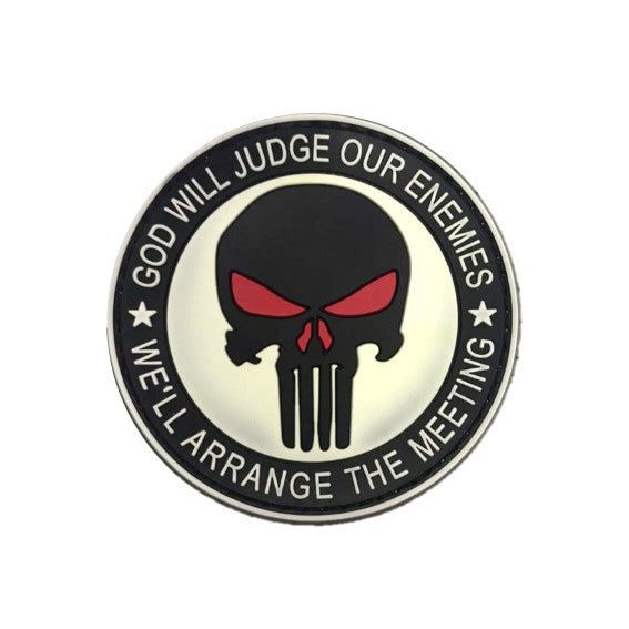 God will Judge, Punisher Rubber badge , White
