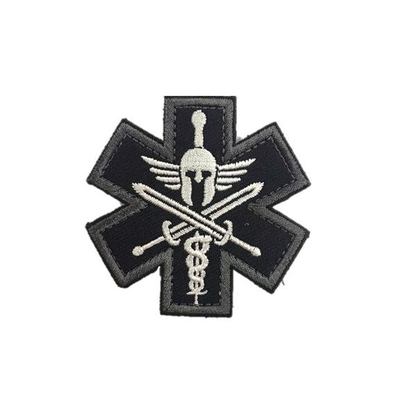 Spartan Medic Tactical Embroidery Patches Black