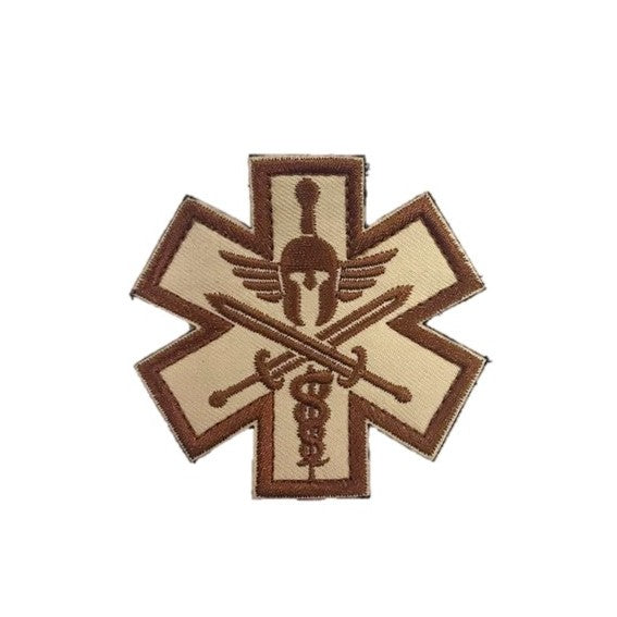 Spartan Medic Tactical Embroidery Patches Khaki