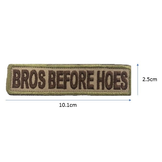 BROS BEFORE HOES Embroidery Patch Khaki